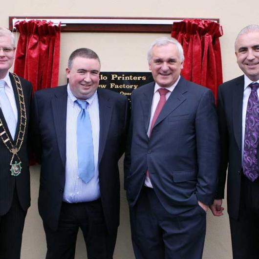Anglo Celebrating 25 Years in Business - 9th October 2008. Cllr Frank Maher, Peter Kierans, Taoiseach Bertie Ahern & Padraic Kierans