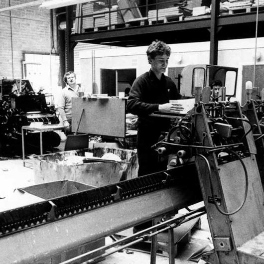 Anglo Printers Finishing Department 1983. Paul Byrne and Muller operator Mr Winters