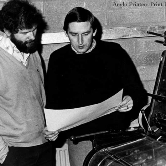 Anglo Printers Print Room 1983. Damian Callan and Gerard Cassidy (eir)