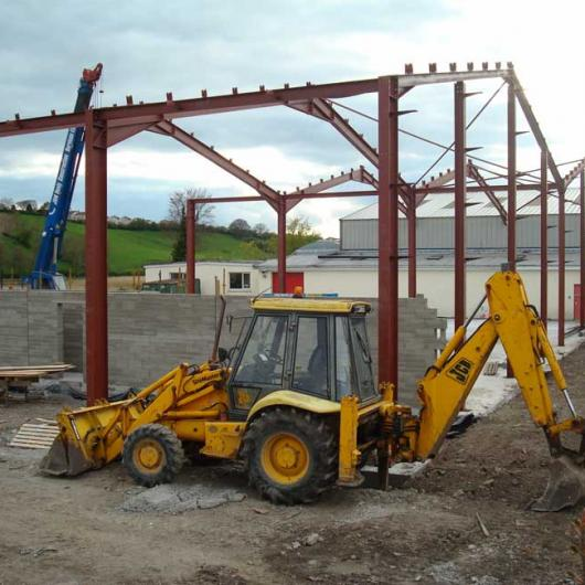 Steel frame erection and walls fly up as part of the Phase 2 extension in 2007