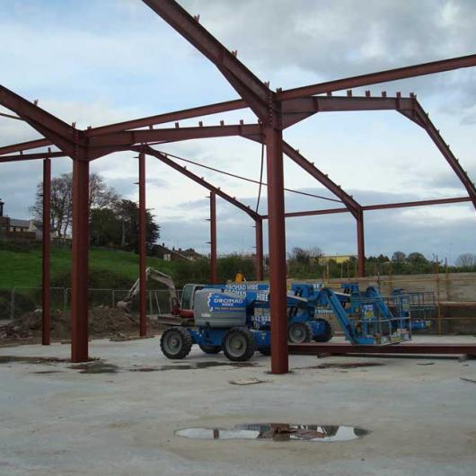 Steel and Concrete erected ready for Roofing of Phase 2 in 2007
